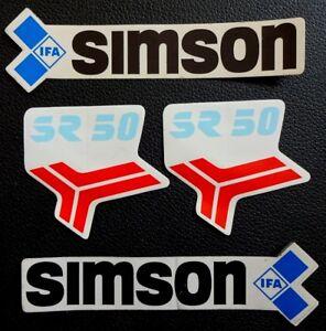 4-teilige-ORIGINAL-IFA-Simson-SR-50-Aufkleber-satz-VEB-DDR-echt-KEIN-NACHDRUCK