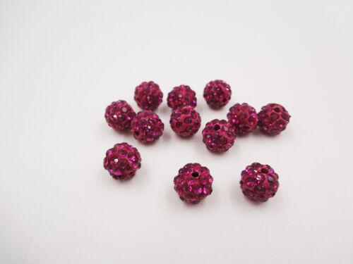 12pc Quality Crystal Rhinestone Beads Disco Ball Shamballa DIY Bracelet 10mm