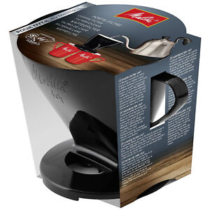 MELITTA Genuine Pour Over Coffee 1 x 4 Black 2 Cup Filter Cone (Two Outlets)
