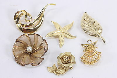 Lot Of 6 Goldtone Metal Costume Jewelry Brooches Pins 3 Signed Avon & BED