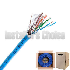 Cat5e 1000ft Cat5 Cable Ftp Wire Solid Ethernet White Bulk