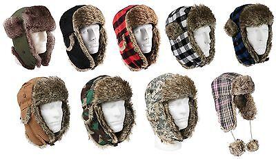 Winter Fur Flyers Hat w/ Earflaps Warm Camo Plaid Cold Weather Cap Hats 7-7.75
