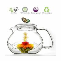 Tea Beyond Clear Glass Teapot Rainbow Butterfly 24 Oz/710ml Non... Free Shipping