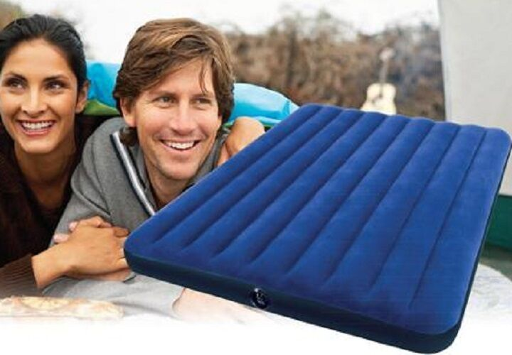 Queen Size Airbed bluee Air Mattress Camping Travel Blowup Inflatable Guest Bed