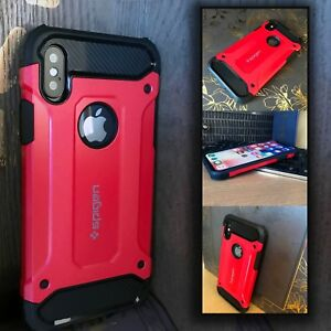 Apple-iPhone-10-Hybrid-Shockproof-Cover-Rugged-Case-Metal-RED-UED