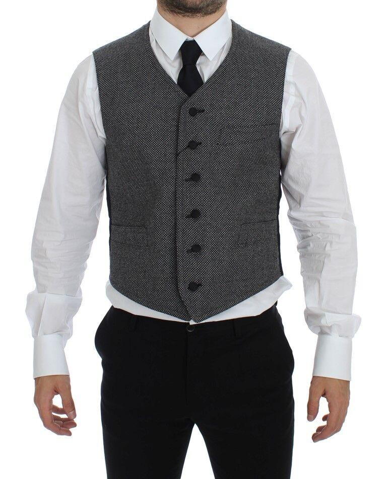 NWT 500 DOLCE & GABBANA grau Cotton Blend Logo Vest Gilet Weste IT48 / US38 / M