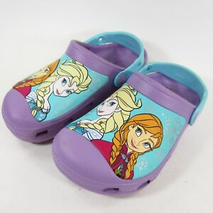 c4d9fb5f6bcd4 Crocs Frozen Shoes Iris Purple Blue Anna   Elsa Girls Juniors Size 1 ...