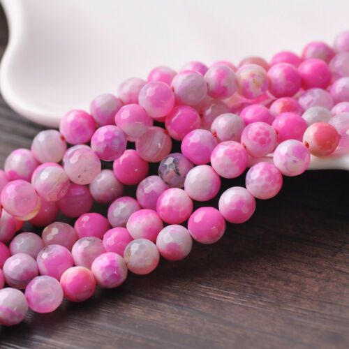 Charms 10pcs 8 mm Pierre Agate Gemstone Faceted Round Loose Spacer Beads Findings