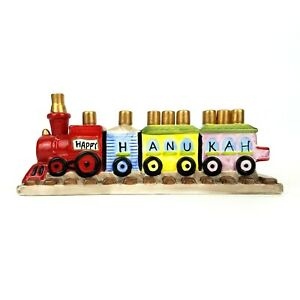 Chanukah-Hanukkah-Ceramic-Train-Menorah-Judaic-Childrens-Happy-Hanukah