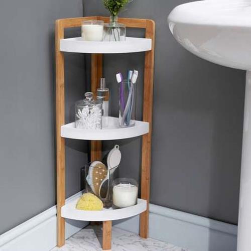 Wooden 3 Tier Bathroom Corner Caddy Shower Shelf Standing Organiser Bamboo Bath