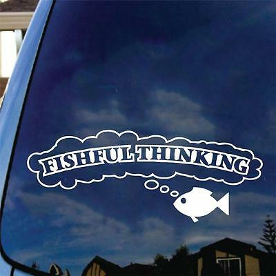 Fishful Thinking Vinyl Decal Sticker Bass Boat Name Funny Fish Finder Tracker