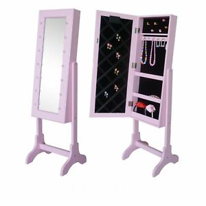 Mirrored Jewelry Cabinet Armoire Stand Tilt Organizer Storage LED