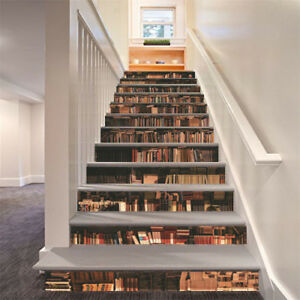 Details About 3D Retro Bookcase Self Adhesive Staircase Stickers Stair  Risers Wall Decal US