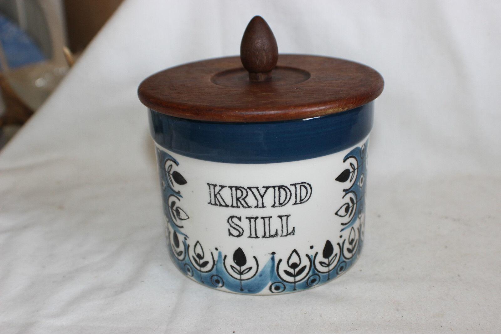 Vintage Jie Gantofta Sweden Krydd Sill Storage Jar – Wooden Lid