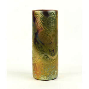 """WELLER POTTERY SICARD 9"""" TALL VASE FLORAL DECORATION DOUBLE SIGNED"""