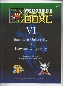 1996 Heritage Bowl Game Program Southern University Howard University
