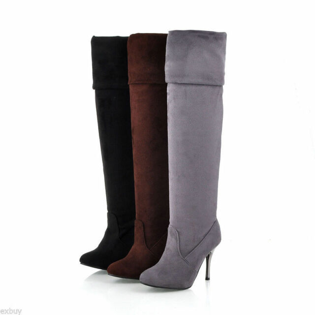 Ladies' Fashion Shoes Faux Suede Stiletto High Heel Over Knee Boots AU Size b037