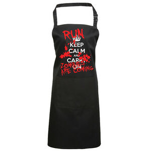 2c9c74a5554 Details about KEEP CALM AND CARRY ON HALLOWEEN RUN ZOMBIES FANCY DRESS  PRINTED CHEFS APRON