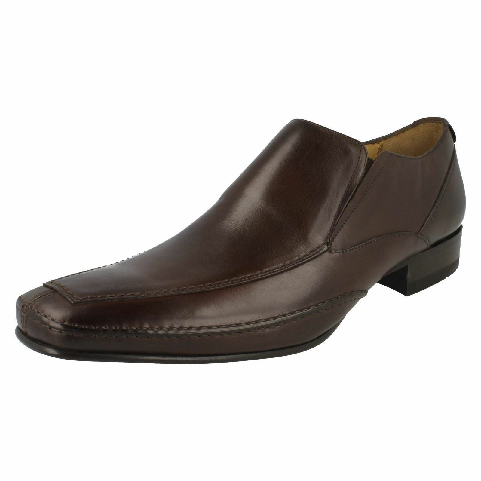 Herren DESIGN LOAKE FORMAL SLIP ON FORMA SMART Schuhe MATTHEWS DARK BROWN LEATHER