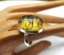 925 Silber, Bernstein Ring, Grün Gr. verstellbar (478)
