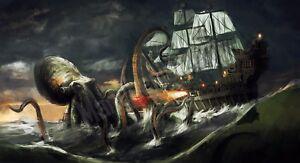 Quadro-legno-59-x-32-cm-stampa-in-alta-qualita-fantasy-kraken-veliero-octopus