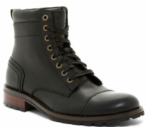 9 Wolverine Reese Cap Toe Lace Black Boots Leather Sz 8 11.5 8.5 11
