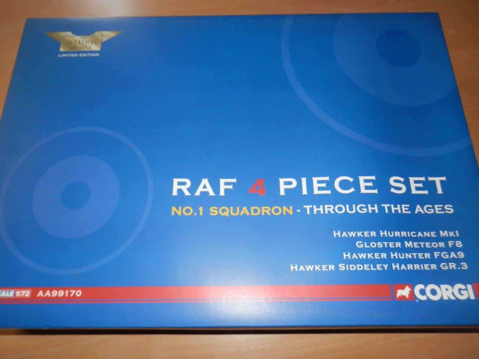 CORGI AVIATION 1 72 RAF NO 1 SQN 4 PIECE SET HURRICANE, METEOR, HUNTER, HARRIER