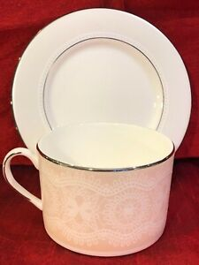 kate-spade-CHAPEL-HILL-Collection-Coffee-Tea-Cup-amp-Saucer-Set-of-4-Lenox-NEW