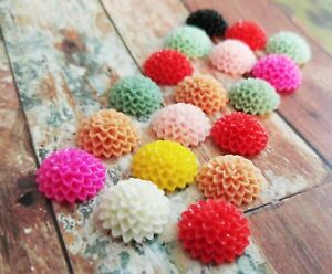 10 Pairs Frosted Resin Chrysanthemum Flower Cabochons 15mm