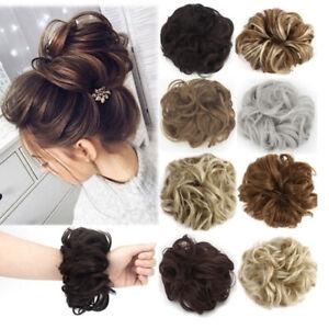 Femme-Cheveux-Ondules-Extensions-Boucles-Synthetique-Chignon-Perruque-Clip