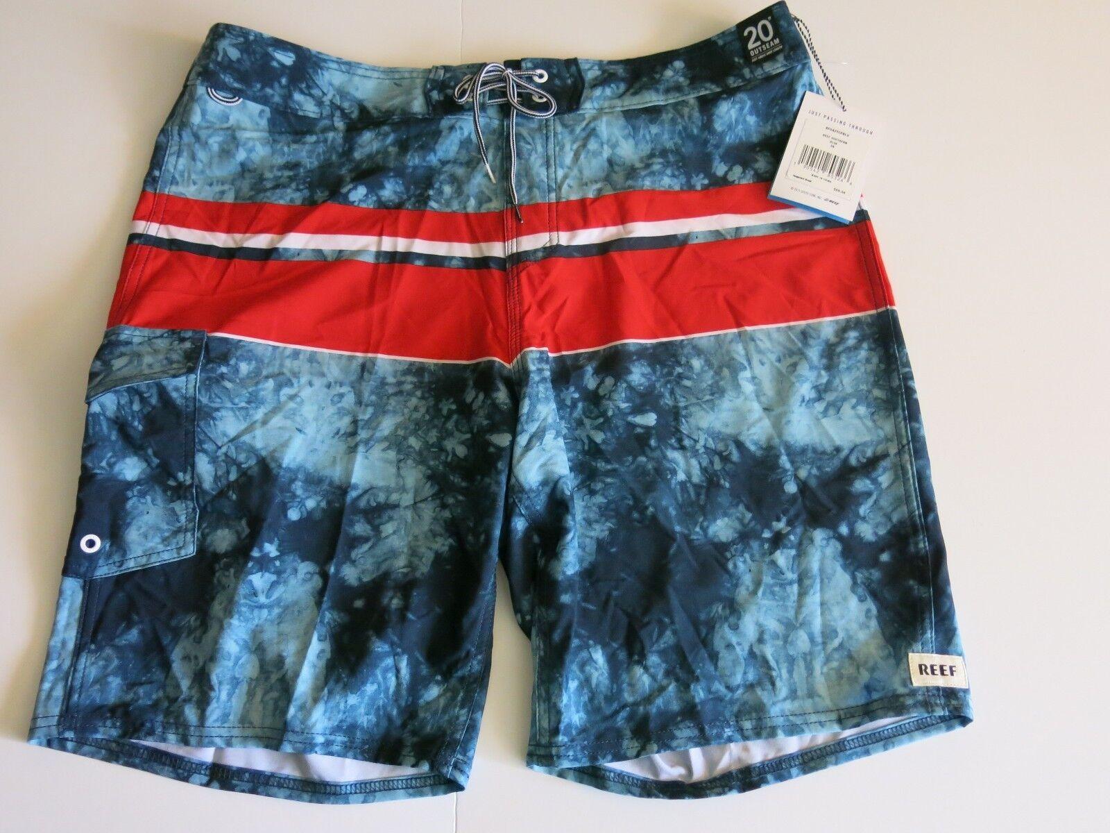 NWT Men's Reef 36 Surf Swim Board Shorts bluee Tie Dye Red White Stripe Southern