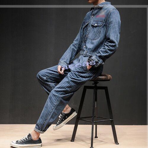 Fashion Men/'s Denim Loose Jumpsuits Overalls One-Piece Casual Pants Jeans Suits