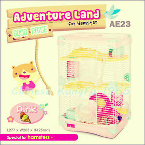 Alice-Adventure-Land-Hamster-Gerbil-Pet-Cage-Playhouse-3-level-Wheel-Tunnel-Rope