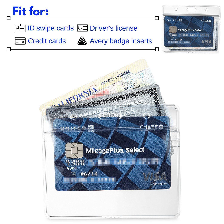 5 Horizontal ID Badge Plastic Holder Zip Lock Zipper ID Card School Hospital EMS