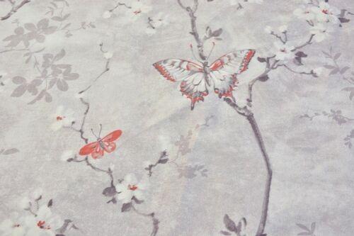Kirschblüte Baumwolle Dekostoff Grau//Weiß//Rot