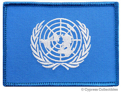 UNITED NATIONS FLAG EMBROIDERED IRON-ON PATCH ANTI-WAR UN PEACE KEEPER MISSION