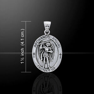 Details about Archangel Raguel Medallion Angel Sterling Silver Pendant by  Peter Stone