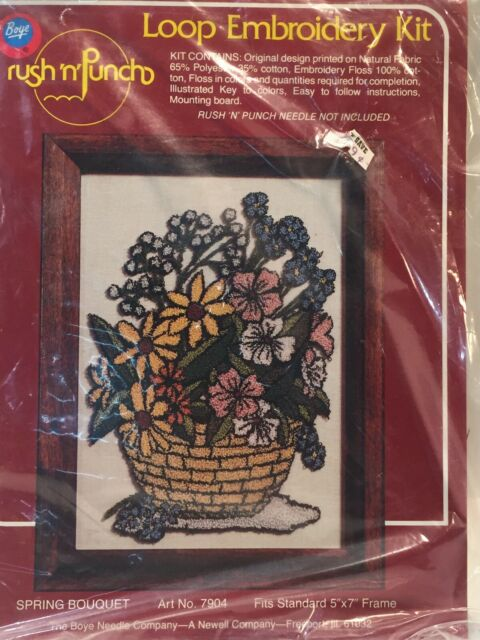 Boye Loop Embroidery Kit Rush N Punch Spring Bouquet 7904