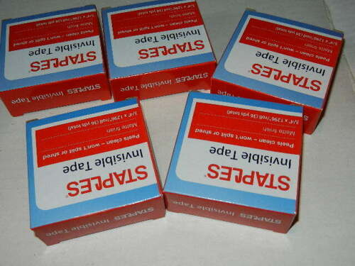 """36 yards each 5 new roll of Staples Invisible Tape 3//4/"""" x 1296/"""" per roll"""