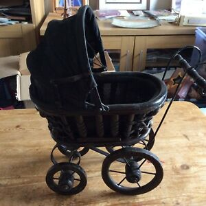 Retro-Vintage-Dolls-Pram-Wicker-Wood-Metal-2