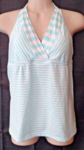 Green-White-Stripe-Halter-Tankini-Top-swim-bathing-suit-swimwear-Mossimo-Medium