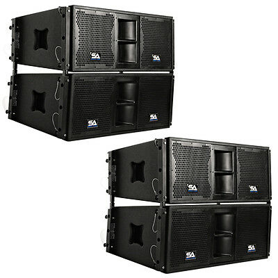 Four Premium Passive 2x10 Line Array Speakers with Dual Compression Drivers