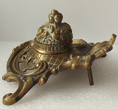 Antique brass inkwell Rococo Victorian style vintage desk-top collectable metal
