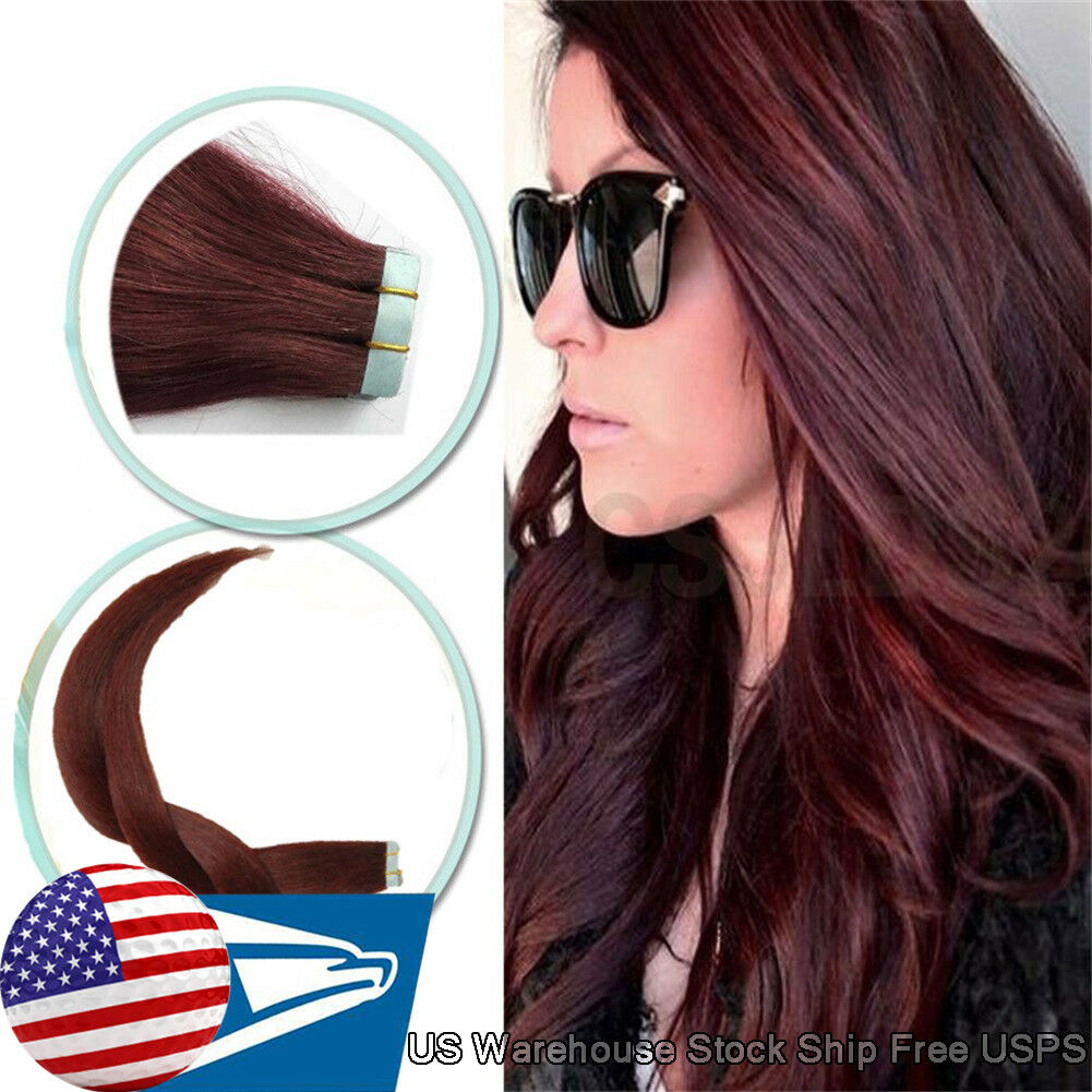 Tape In Skin Weft Remy Human Hair Extensions 99j Wine Red 16inch