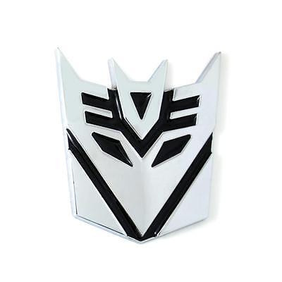 Car Metal Front Grille Emblem Transformers Decepticon Chrome Silver