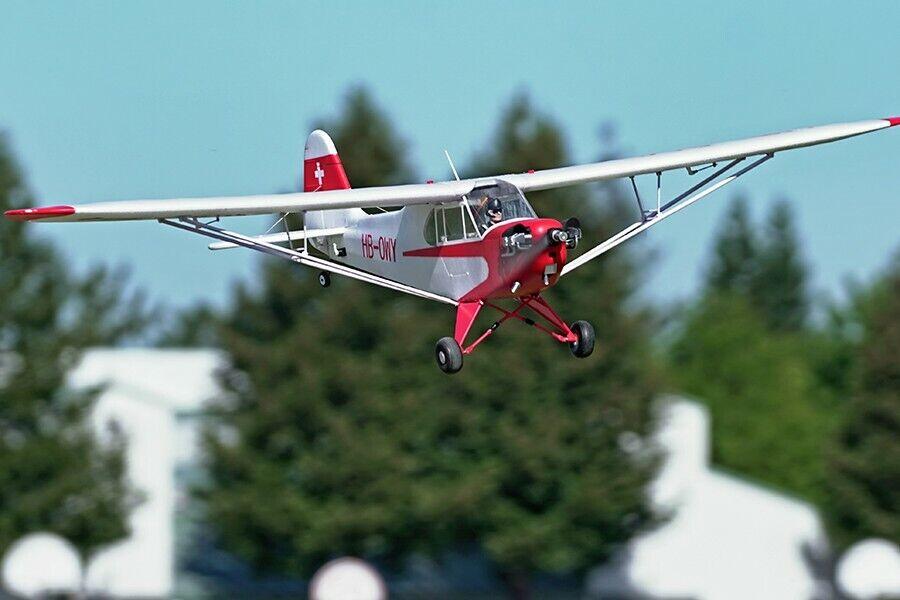 FMS 1400mm J-3 CUB V3 RC avión entrenador (Rojo) PNP no flota sin radio