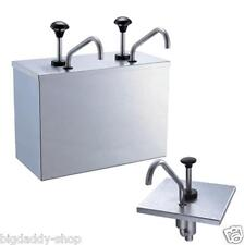 2 Bucket Sauce Dispenser Pump Squeeze Condiment Dispensing Stainless Steel S