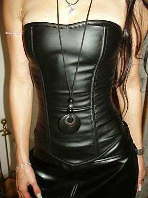 ECHTES LEDER Gothic Corsage Korsett schwarz Größe 4XL XXXXL G111 Ledercorsage