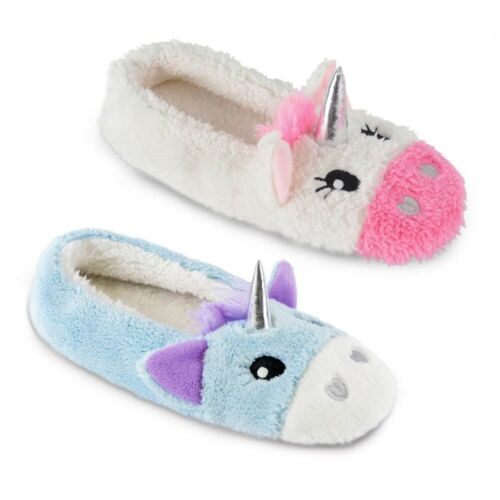 Ladies Gorgeous Fluffy Faux Fur Colourful Unicorn Ballerina Slippers 3 UK Sizes