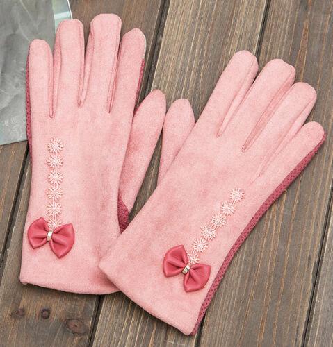 New Womens Bow Gloves suede velvet Touch Screen Gloves Winter ST007